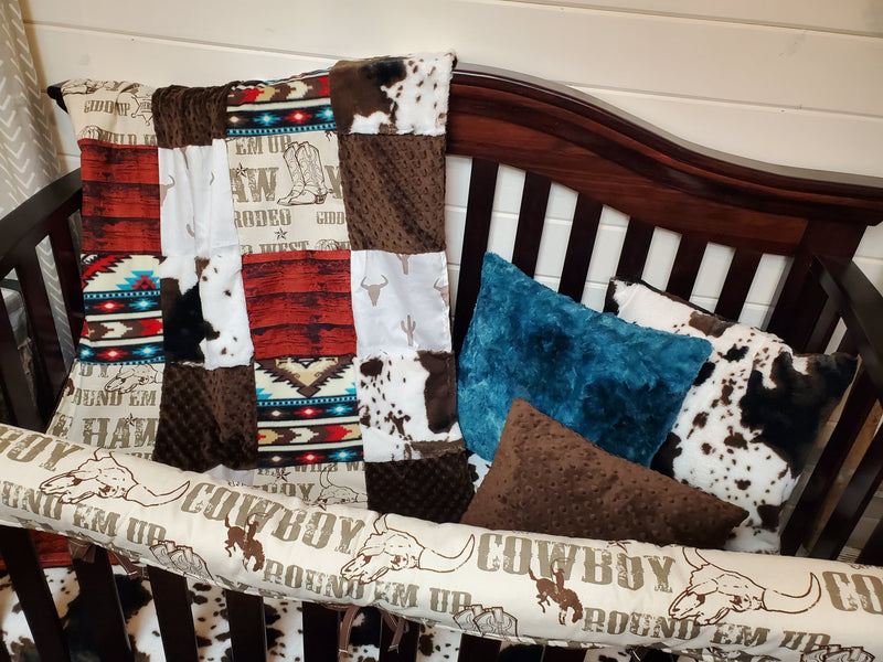 Ready to Ship Boy Crib Bedding- Cowboy, Steer, and Cow Minky Collection
