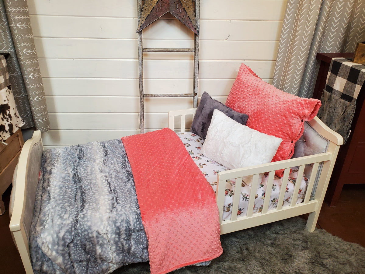 Toddler or Twin Bedding -  Silver Fawn Minky Collection