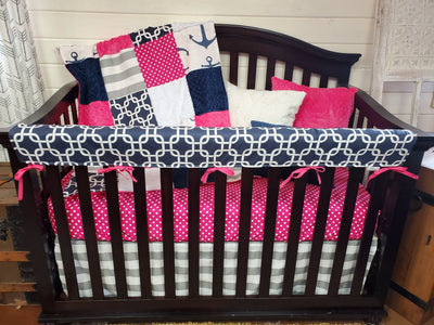 Ready to Ship Girl Crib Bedding- Nautical Anchor Collection