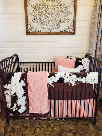 Ready to Ship Girl Crib Bedding- Cow Minky Collection