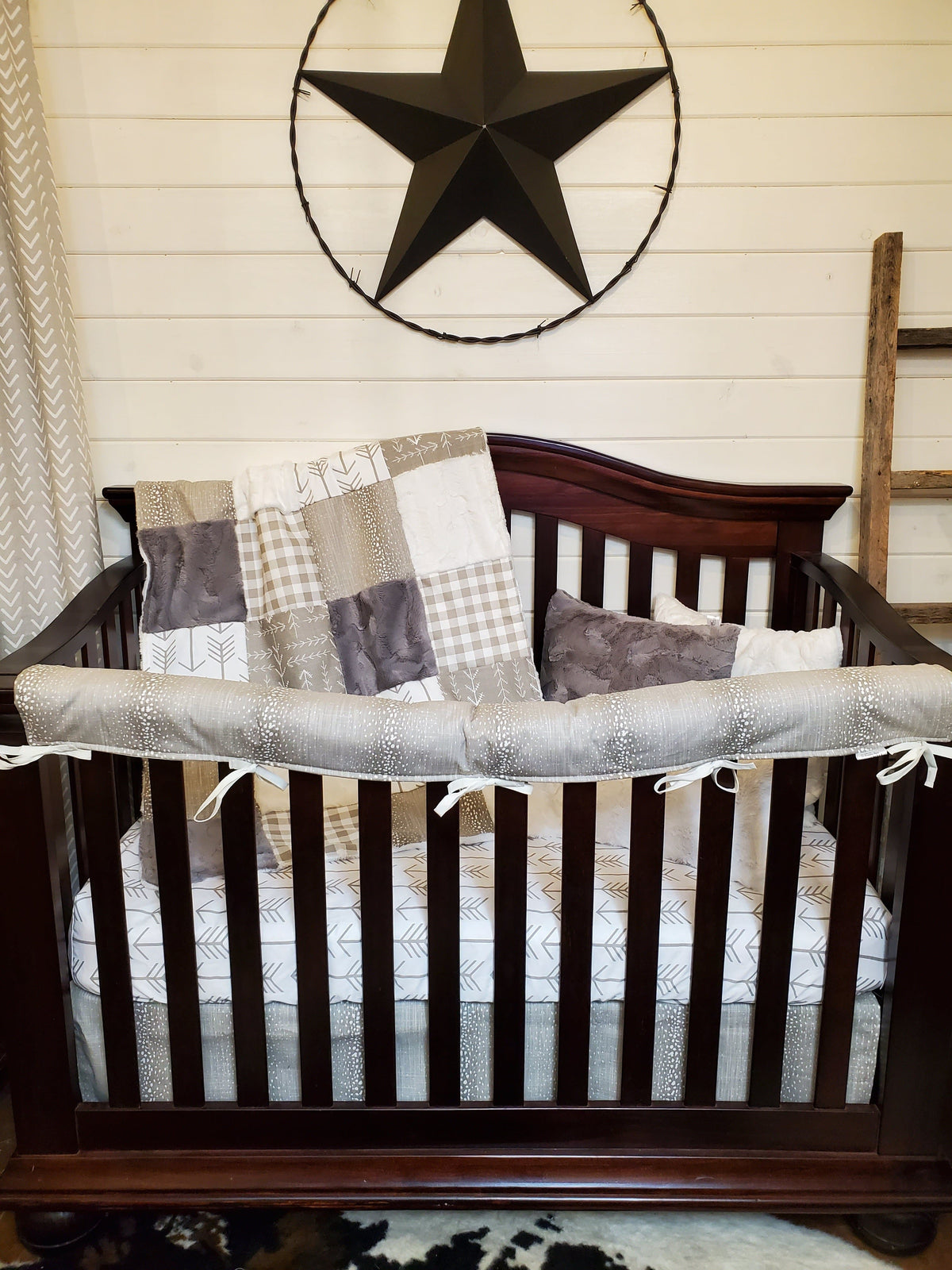 Ready to Ship Neutral Crib Bedding- Antelope and Arrow Collection