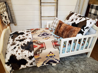 Toddler or Twin Bedding -  Cow Minky, Aztec, and Barn Dandy Collection