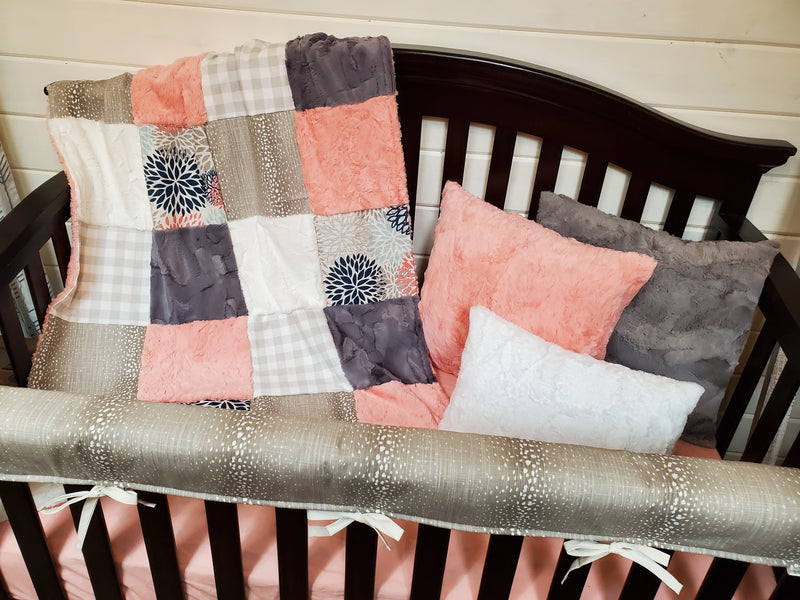 Ready to Ship Girl Crib Bedding- Antelope and Color Burst Collection