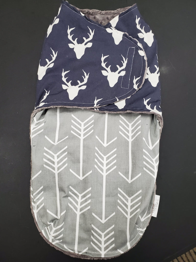 Swaddle Blanket - Navy Buck with Gray Arrow Pouch front and gray minky interior.