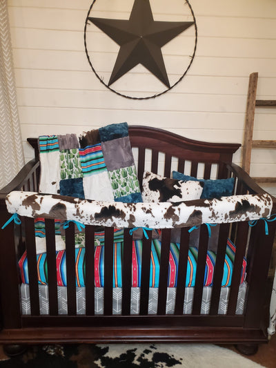 Ready to Ship Neutral Crib Bedding- Serape, Cactus, and Cow Minky Collection