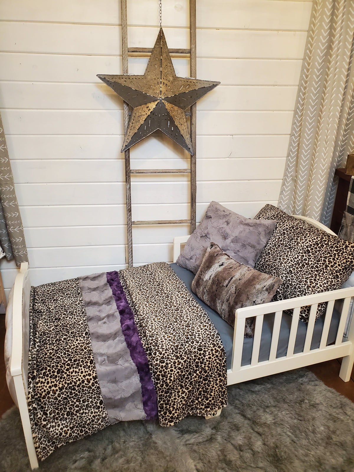 Toddler or Twin Bedding -  Cheetah Minky and Plum Galaxy Minky Collection