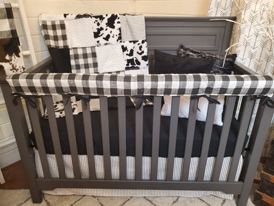 Ready to Ship Neutral Crib Bedding- Farmhouse and Black Cow Minky Collection