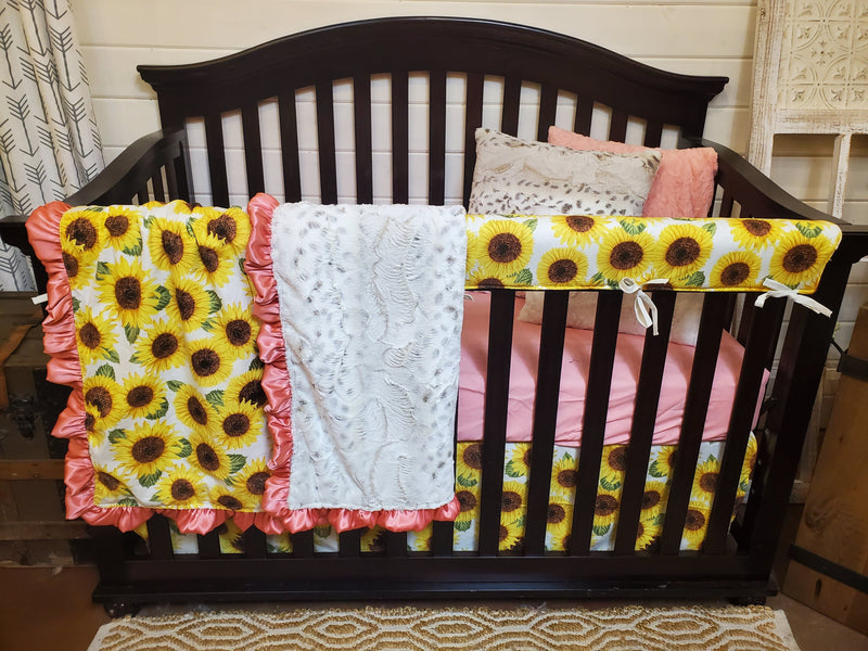 Ready to Ship Girl Crib Bedding- Sunflower and Lynx Minky Collection