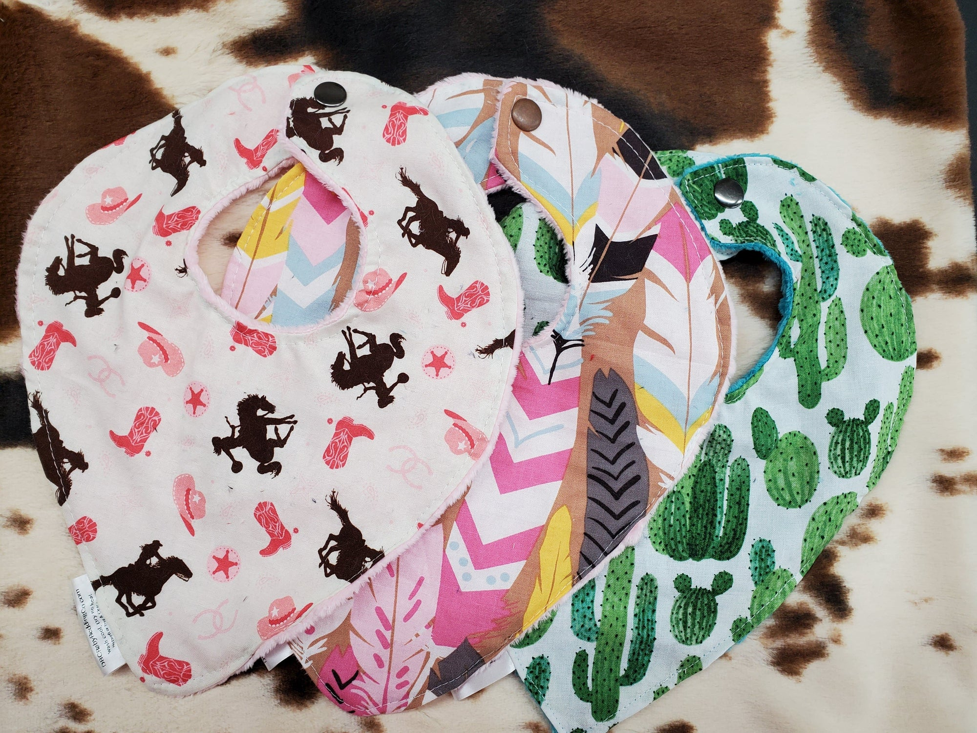 LIVE Specials - Bib- 3 pc set Baby Bibs -Cowgirl, Feathers, and Cactus