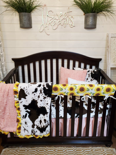 Ready to Ship Girl Crib Bedding- Sunflower and Cow Minky Collection