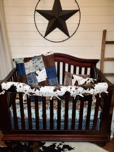 Ready to Ship Boy Crib Bedding- Barn Dandy Cowboy and Cow Minky Cowboy Collection