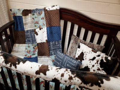 Ready to Ship Boy Crib Bedding- Barn Dandy Cowboy and Cow Minky Collection