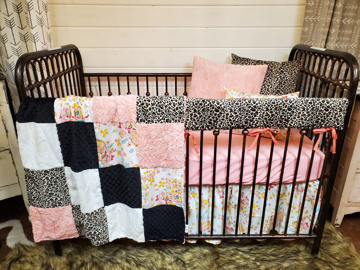 Ready to Ship Girl Crib Bedding- Floral and Cheetah Collection