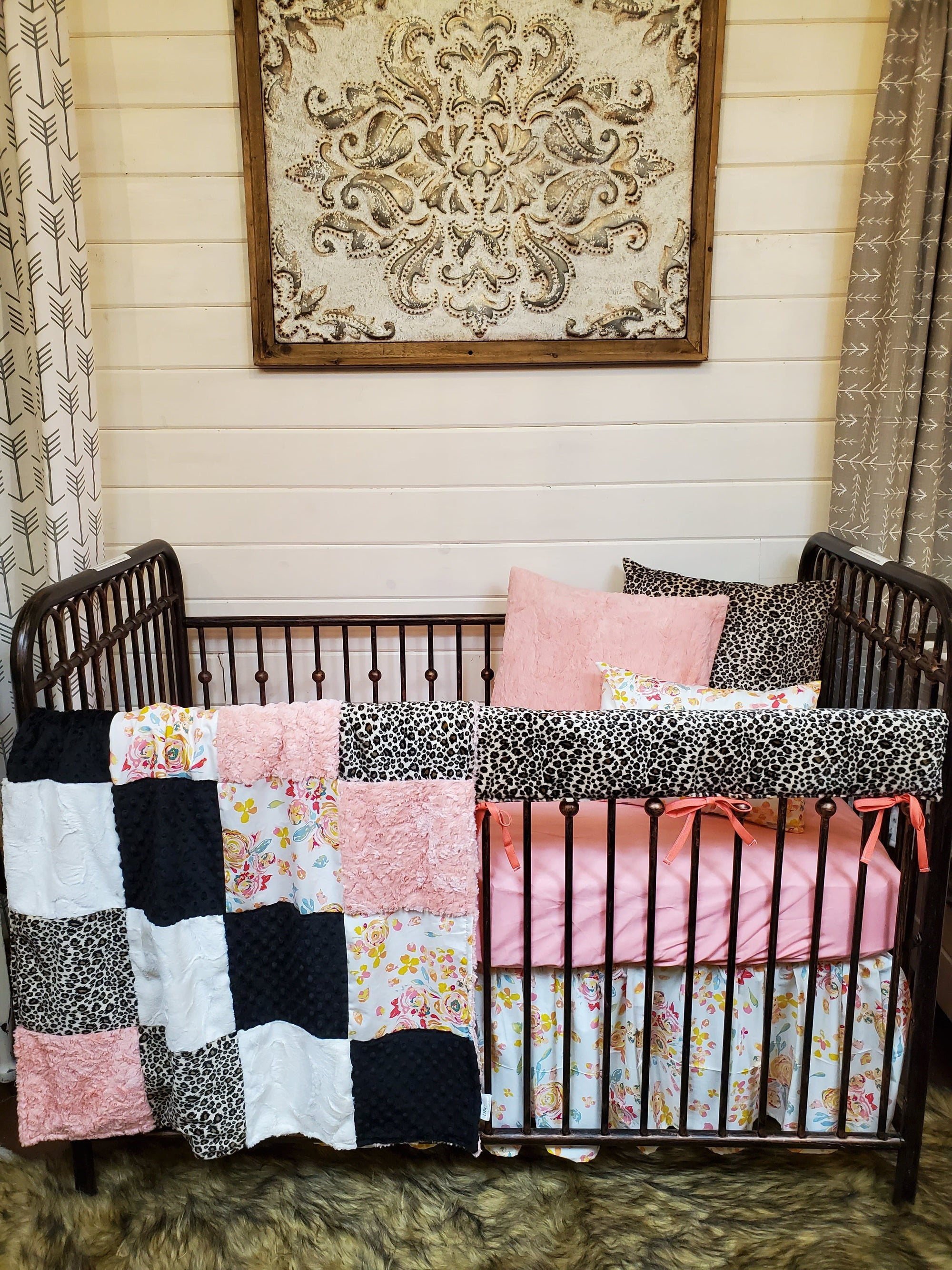 Ready to Ship Girl Crib Bedding- Ivory Flowers and Cheetah Minky Collection