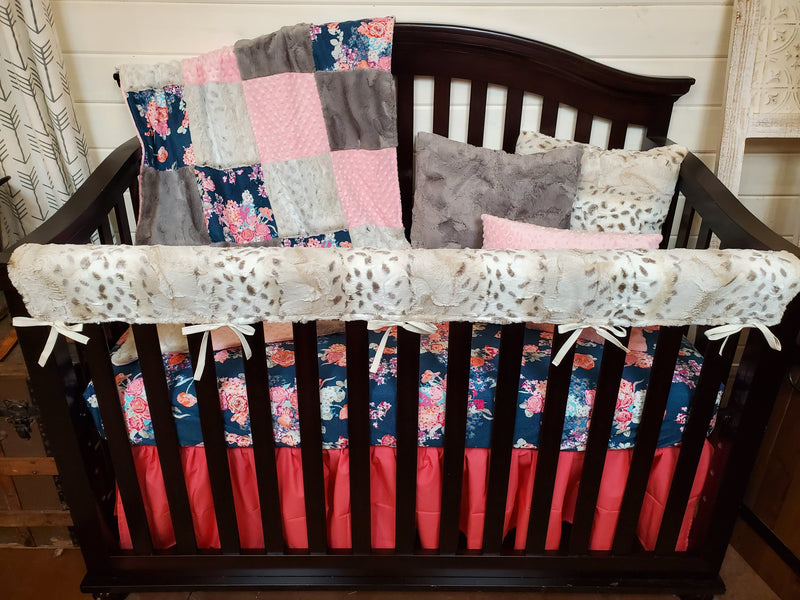 Ready to Ship Girl Crib Bedding- Navy Floral and Lynx Minky Collection