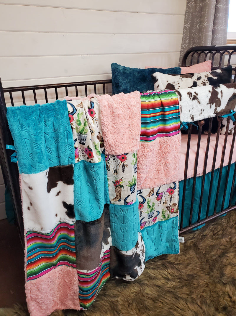 Ready to Ship Girl Crib Bedding - Boots and Cow Minky Collection