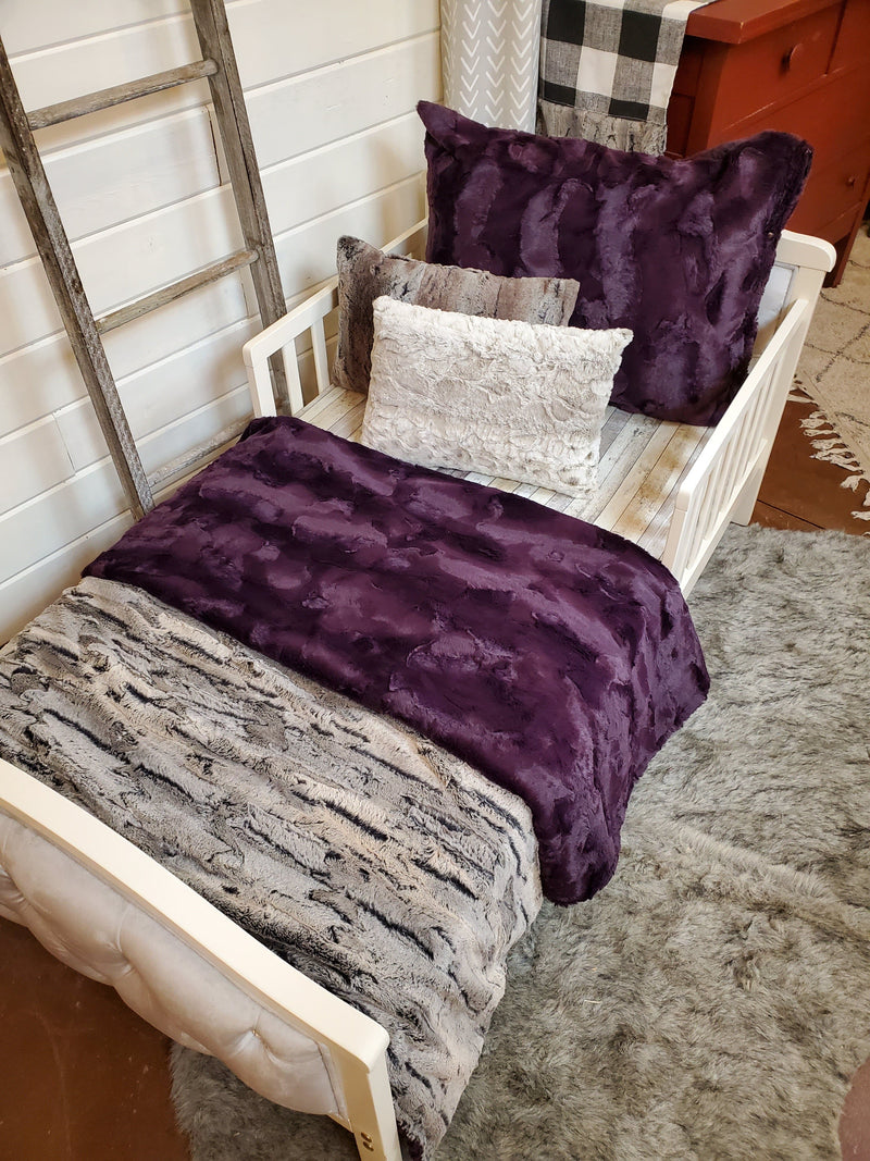 Toddler or Twin Bedding -  Rabbit Minky and Plum Hide Minky Collection