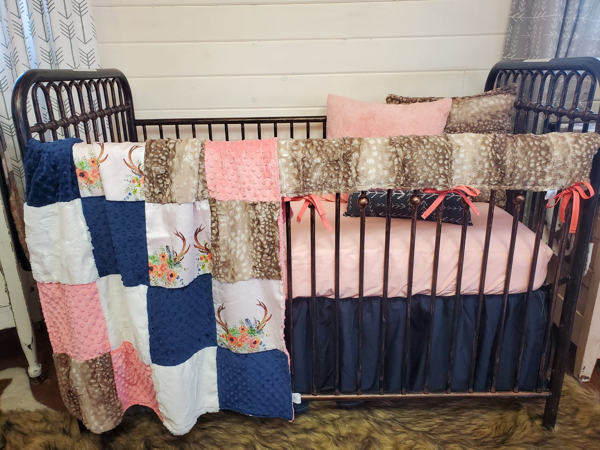 Ready to Ship Girl Crib Bedding- Boho Floral Antlers and Fawn Minky Collection