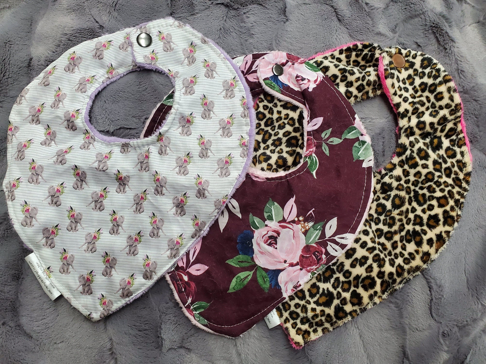 LIVE Specials - Bib- 3 pc set Baby Bibs - Elephants, Maroon Flowers, Cheetah Minky