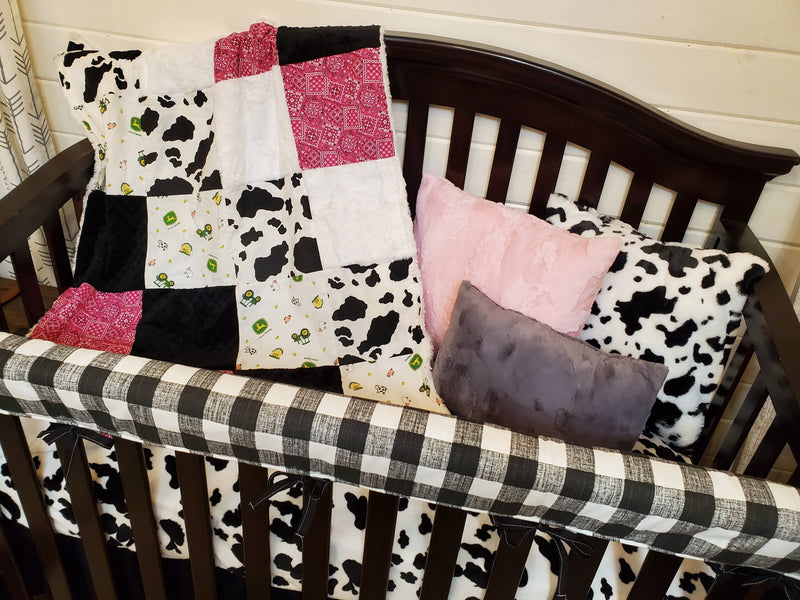 Ready to Ship Girl Crib Bedding- Farm and Cow Minky Collection