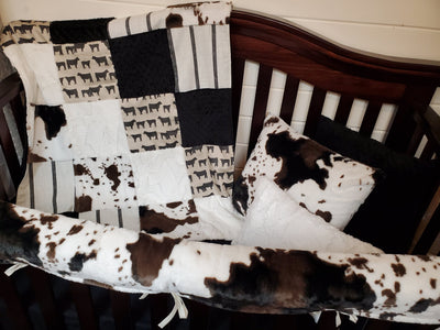 Ready to Ship Boy Crib Bedding- Angus and Cow Minky Farm Collection