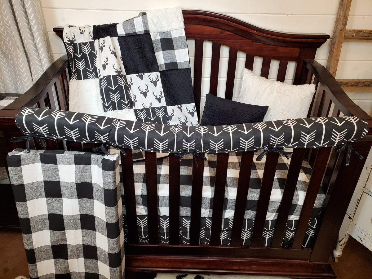 Quick Ship Boy Crib Bedding- Buck and Check Woodland Collection