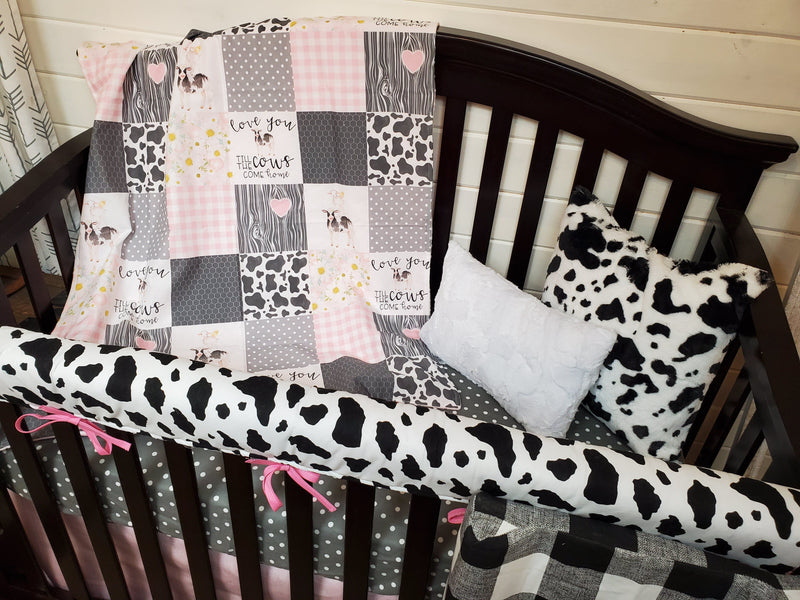 Ready to Ship Girl Crib Bedding - Cows Come Home