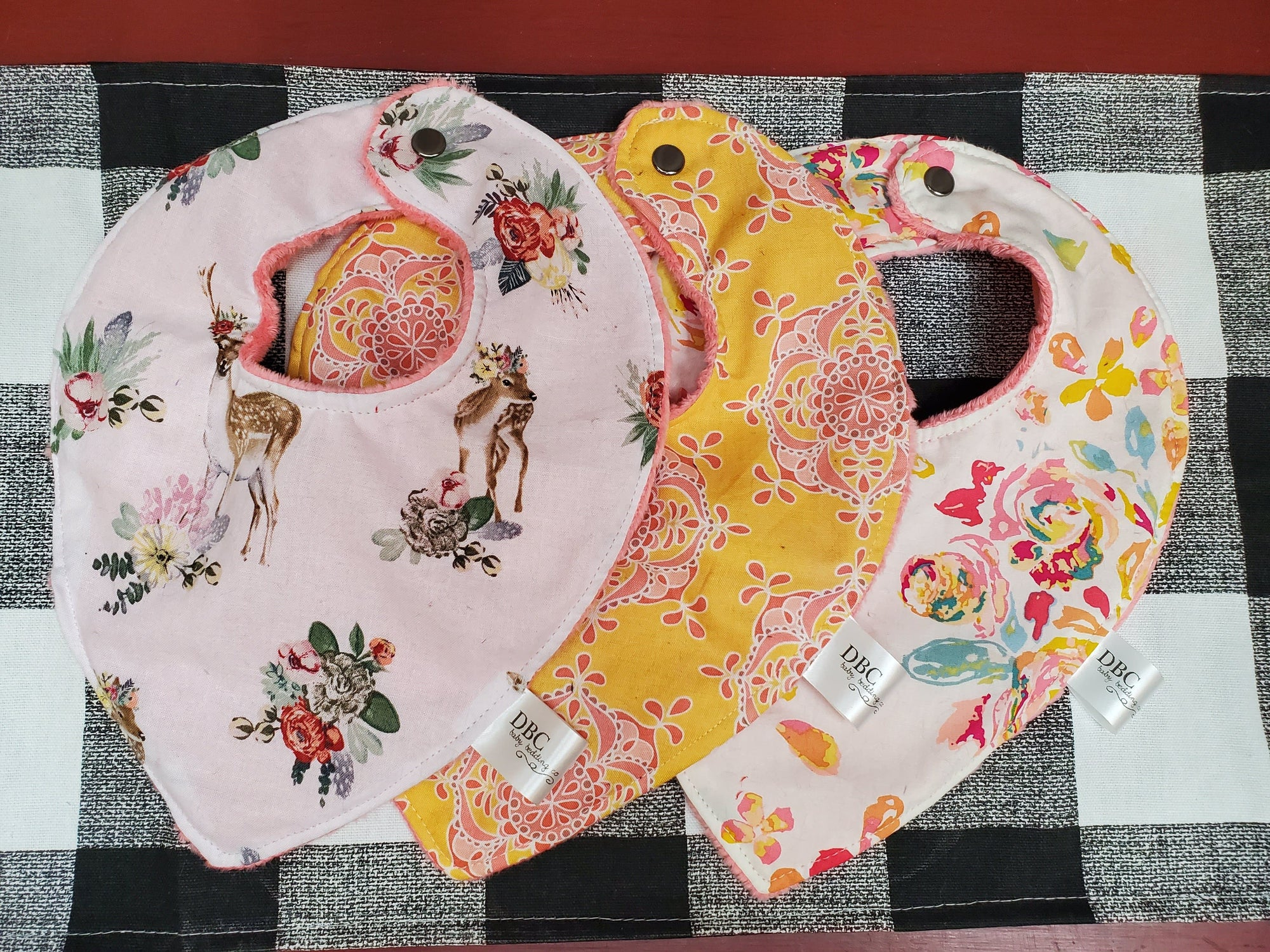 Spring Fling - Bib- 3 pc set Baby Bibs -Floral Fawn, Watercolor flowers, and Damask