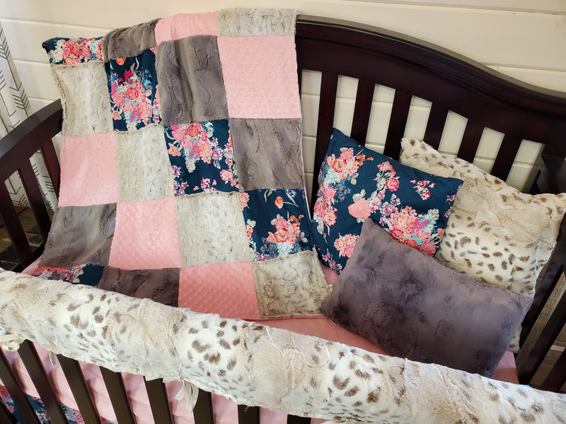 Ready to Ship Girl Crib Bedding - Navy Coral Floral and Lynx Minky