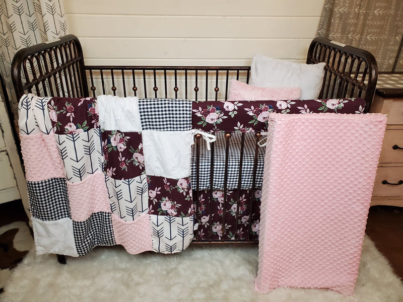 Ready to Ship Girl Crib Bedding-  Maroon Flowers