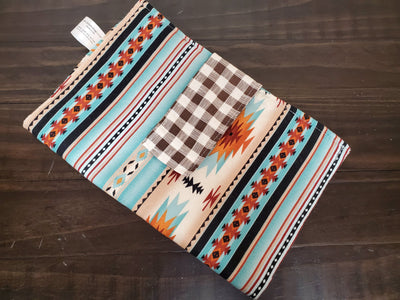 Diaper Clutch - Mint Aztec with Brown Ivory Check