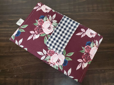 Diaper Clutch - maroon flowers with navy check