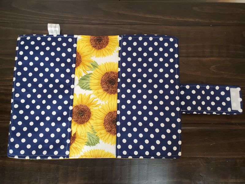 Diaper Clutch - sunflowers with navy dots