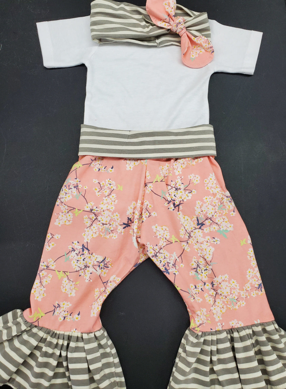 Baby/Toddler Outfit - 3pc Ruffle Pants Set - Cherry Blossom