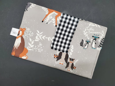 Diaper Clutch - Hello Bear with Black Check