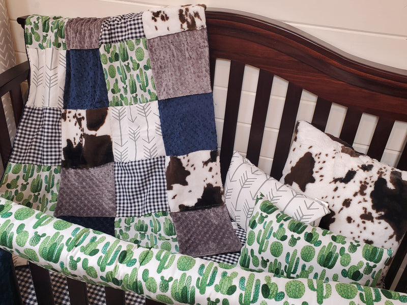 LIVE Specials Boy Crib Bedding- Set 5 - Cactus and Cow Minky