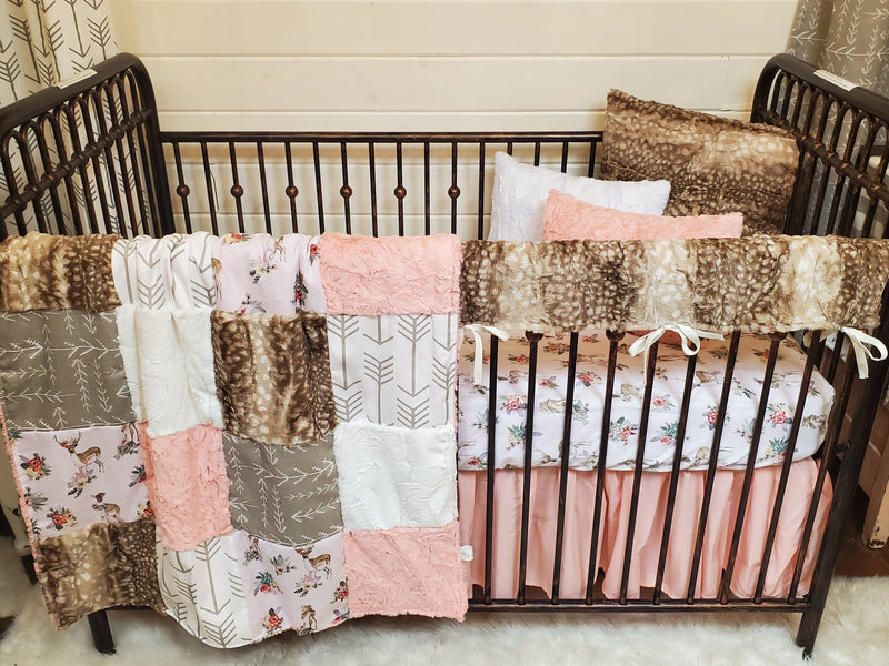LIVE Specials Girl Crib Bedding- Set 4 - Floral Fawn