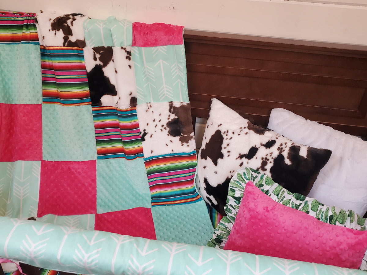 Ready to Ship Girl Crib Bedding -  Serape and Mint Arrow