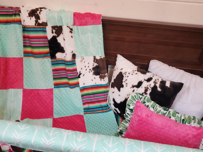LIVE Specials Girl Crib Bedding- Set 3 -  Serape and Mint Arrow