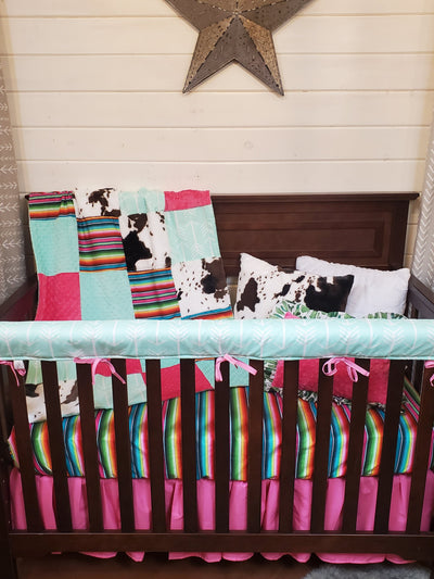 Ready to Ship Girl Crib Bedding -  Serape and Mint Arrow Collection