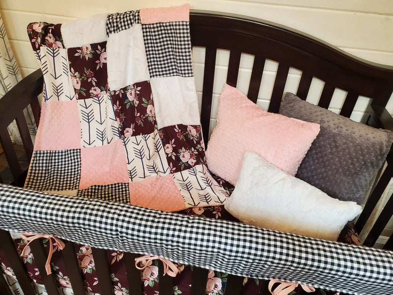 LIVE Specials Girl Crib Bedding- Set 1 - Maroon Floral and Navy Check