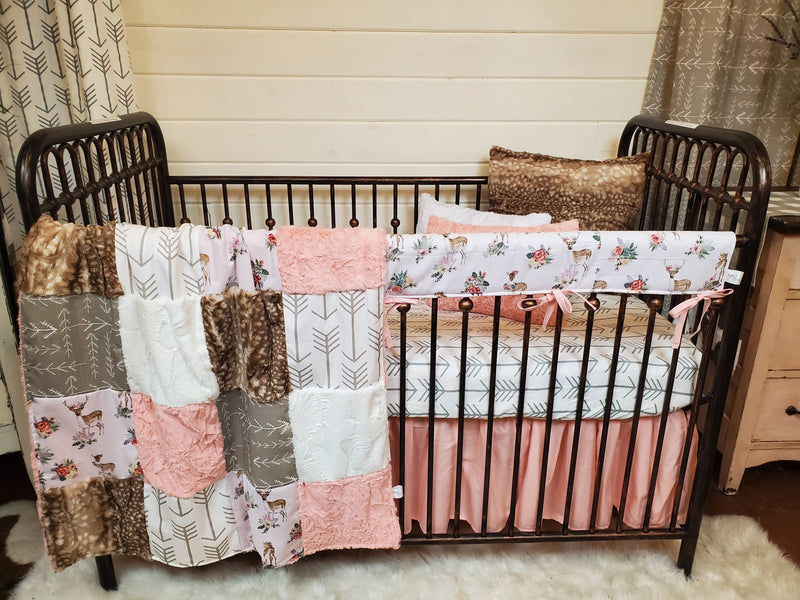 LIVE Specials Girl Crib Bedding- Set 4 - Floral Fawn and White Tan Arrow