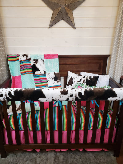 Ready to Ship Girl Crib Bedding-  Serape and Cow Minky Ranch Collection
