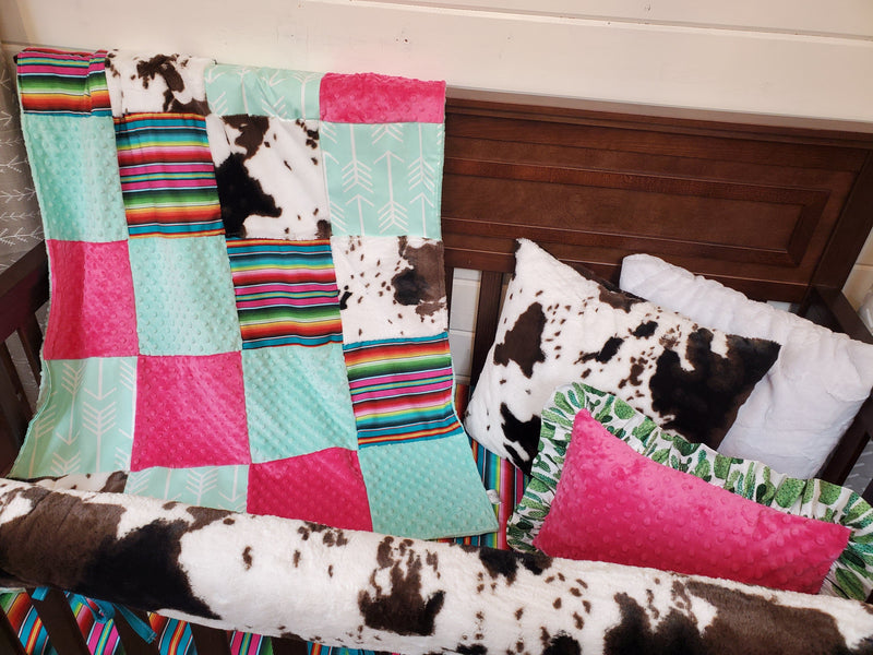Ready to Ship Girl Crib Bedding-  Serape and Cow Minky