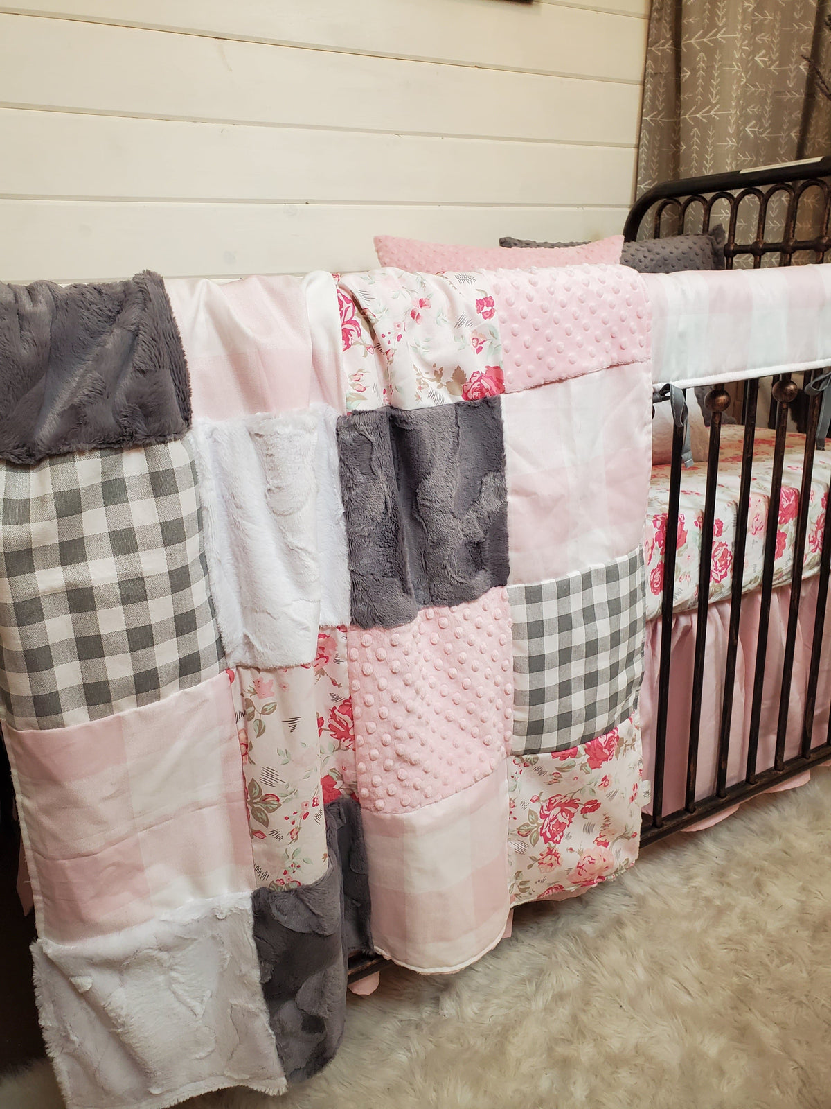 Ready to Ship Girl Crib Bedding- Romantic Rose's Farmhouse Collection