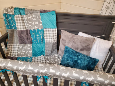Ready to Ship Neutral Crib Bedding - Gray and Teal Deer