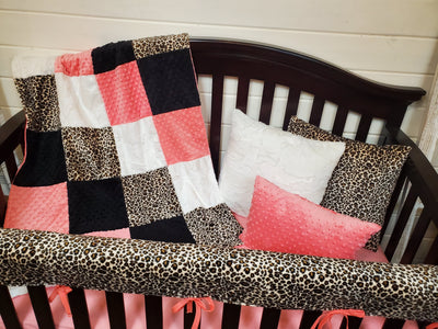 Ready to Ship Girl Crib Bedding - Cheetah Minky and Coral Minky Collection