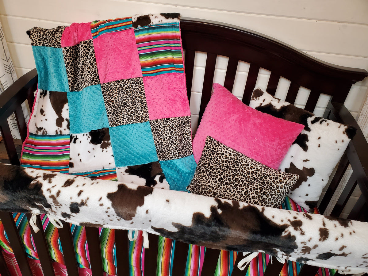 Ready to Ship Girl Crib Bedding- Cheetah, Cow Minky, and Serape Collection