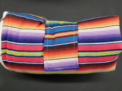 On the Go Changing Pad - purple serape with cow minky interior