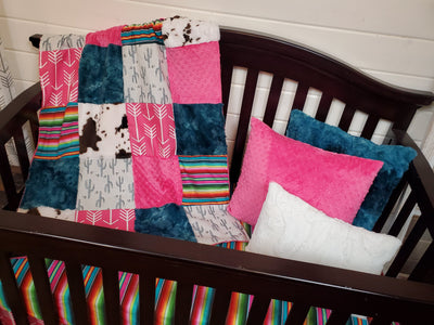 Ready to Ship Girl Crib Bedding - Valley Cactus and Serape